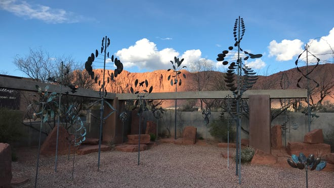 Art twists and turns in the Wind Garden at Coyote Gulch  Art Village in Ivins.