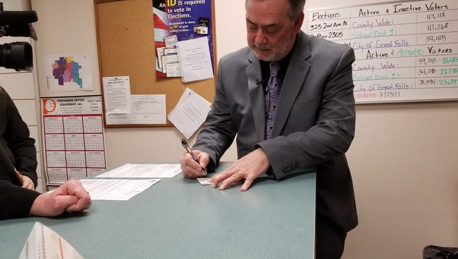 George Kynett files to run for sheriff of Cascade County as a Democrat on March 8.