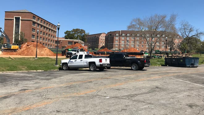 Subcontractors were preparing to install chill water pipes on the site of the new student center next to Gaither Gymnasium on Thursday, March 8. FAMU has requested $21 million from the Legislature for additional funding.