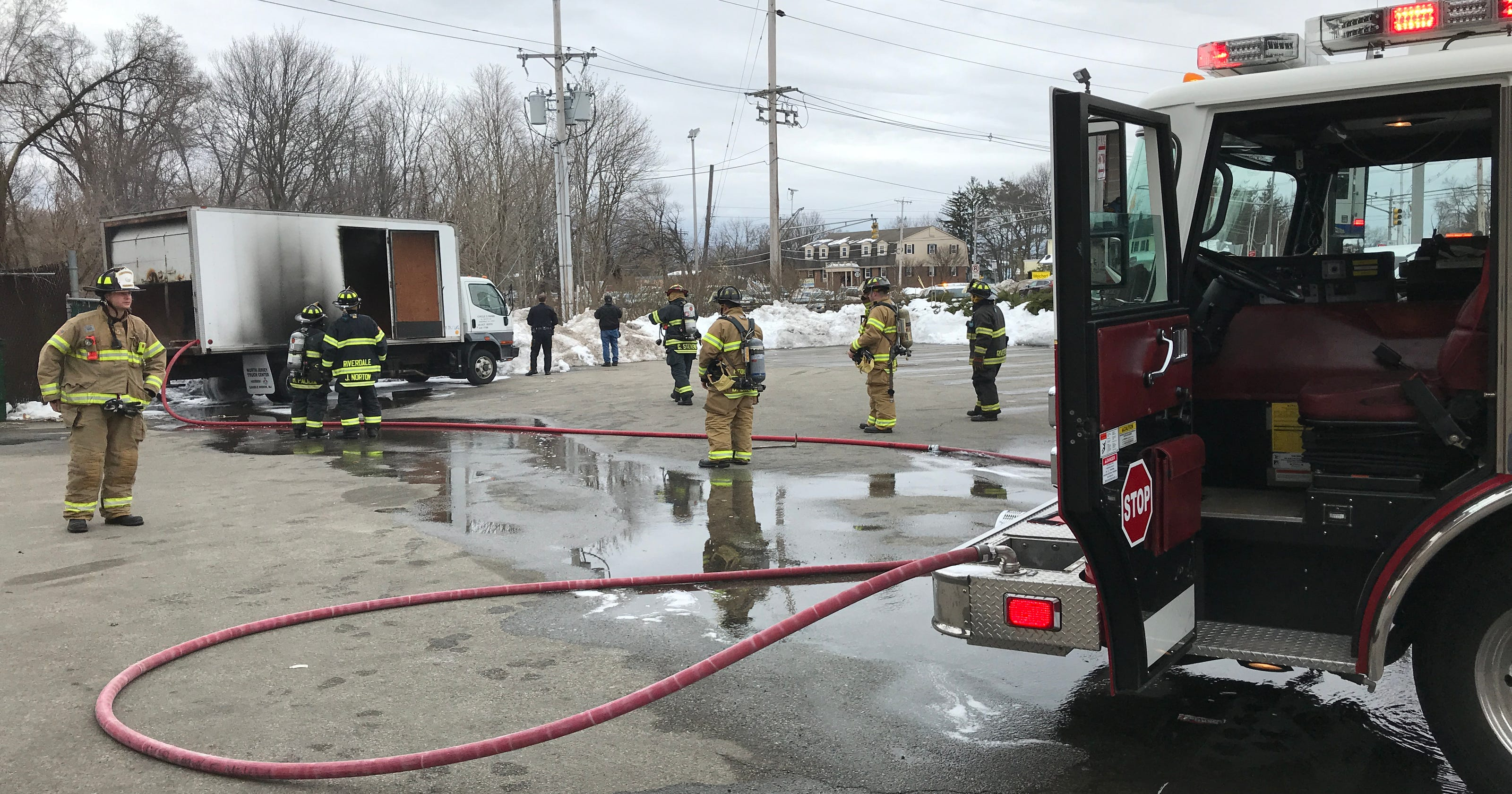 Watch: Truck catches fire from fallen live wire in Pequannock