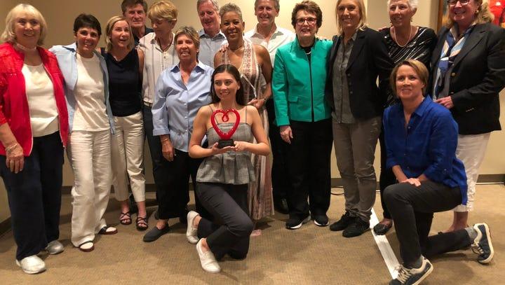 Rancho Mirage High star Tatiana Harvey, USTA CEO net awards during BNP Paribas Open reception