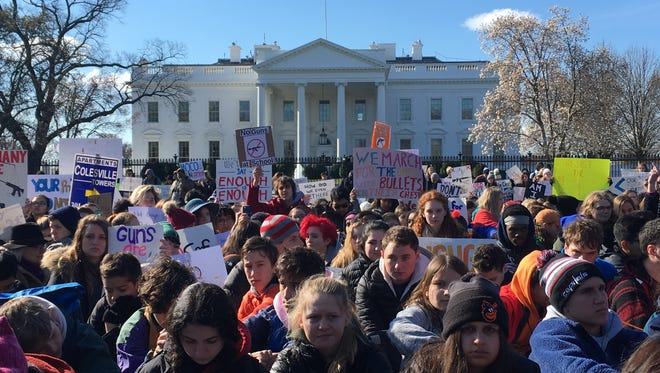Hundreds of students pack Pennsylvania Avenue in front of the White House on March 14, 2018, to protest gun violence.
