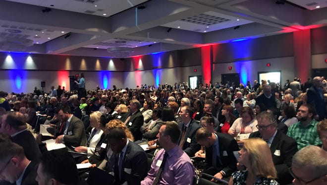 The crowd at the Old National Events Plaza waits for the Leadership Evansville Celebration of Leadership to begin.