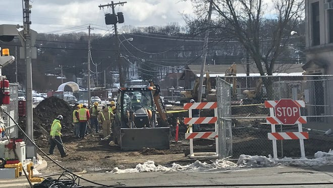 Contractors work to repair a gas main exposed by construction workers on Sussex Street in Downtown Dover,prompting a evacuation of surrounding blocks. March 16, 2018