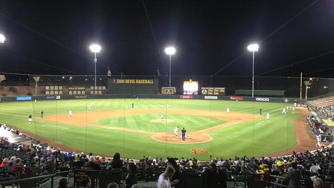 ASU baseball up to bat at Phoenix Municipal Stadium against University of Oregon n Friday, March 16, 2018.