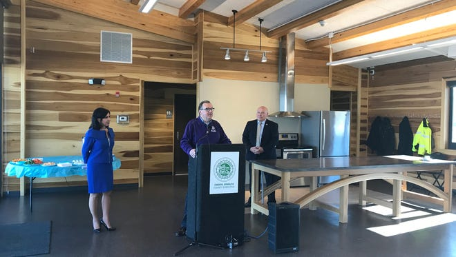 County officials unveil the newest lodge at Webster Park