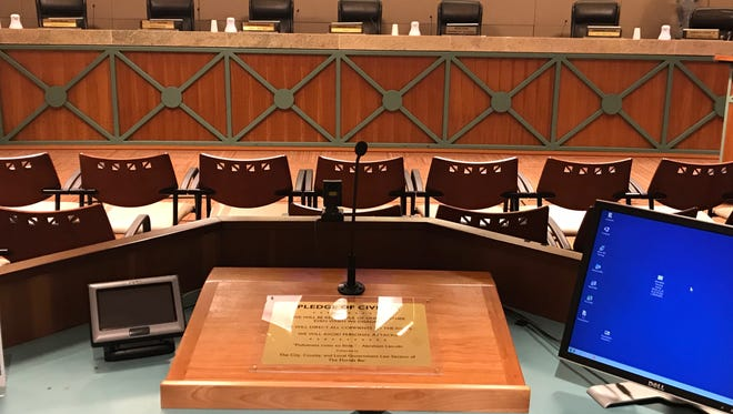 The podium at City Hall where public speakers step up during City Commission meetings was moved behind a row a chairs after commissioners voiced concerns.