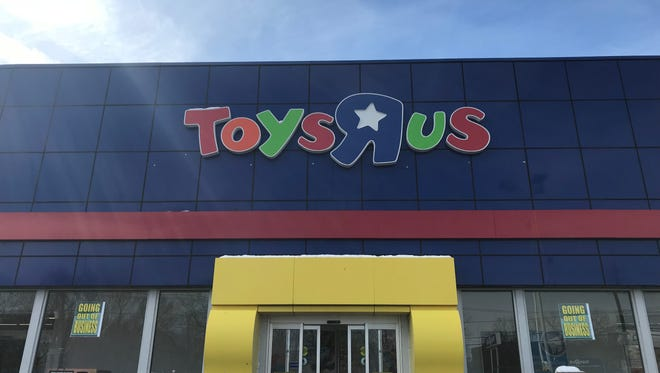 The Toys R Us on Route 4 in Paramus has Going Out of Business signs in its windows on Thursday, March 22, 2018.