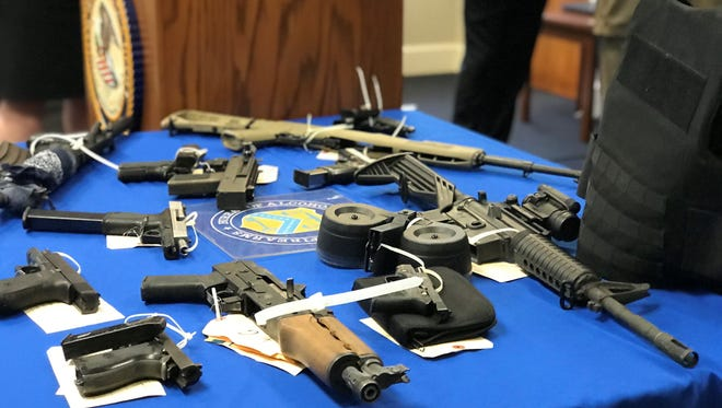 A collection of firearms Montgomery and federal authorities seized in a recent gun crime sweep.