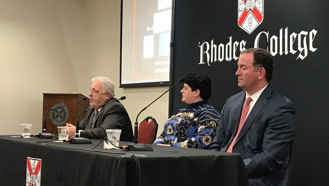 Shelby County Republican mayoral candidates Terry Roland, left, Joy Touliatos and David Lenoir answer questions about economic development in a March 26, 2018, forum.
