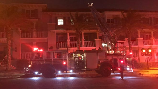 Several fire trucks responded to a report of a fire in the apartments above the Citrus Grillhouse at 1010 Easter Lily Lane March 27, 2018.