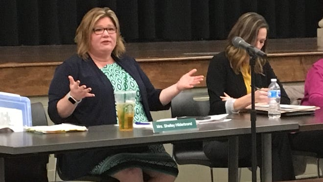 Madison superintendent Shelley Hilderbrand talks with parents about new STEM classes during a school board meeting Wednesday, March 28, 2018. The district plans to offer mandatory STEM classes as part of its elective rotation in both the elementary and middle schools.
