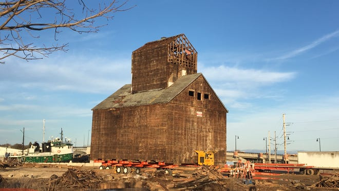 Granary set with wheels for preparations to move Thursday, March 29.