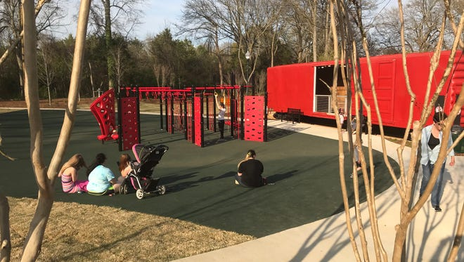 A playground and exercise stations are popular attractions at the new Doodle Park in Easley.