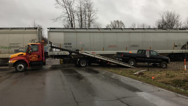No one was injured when a train struck a pickup truck on Piper Road on Tuesday, April 3, 2018.