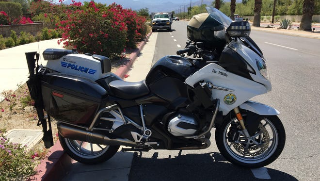 This photo shows a BMW motorcycle used by Riverside County sheriff's deputies in Palm Desert. Desert Hot Springs leaders recently agreed to purchase a similar motorcycle to patrol Palm Drive, which has been notorious for collisions in recent years.