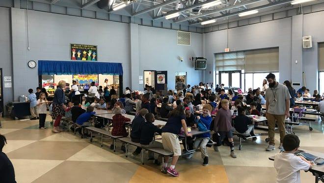 Students enjoy lunch at North Salisbury Elementary School on April 4, 2018.