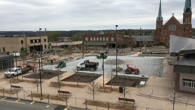 A compacted stone base is being completed for the Great Lawn area (center) to make way for an artificial turf similar to real grass, rather than turf on a playing field.