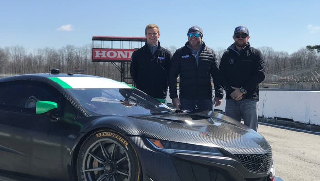 Michael Shank (center) along with drivers Justin Marks (right) and Lawson Aschenbach ran a few test laps last week at Mid-Ohio Sports Car Course.