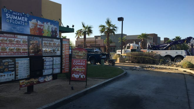 A Jack in the Box restaurant lost electricity after a car crashed on Gene Autry Trail at Ramon Road Monday morning in Palm Springs.
