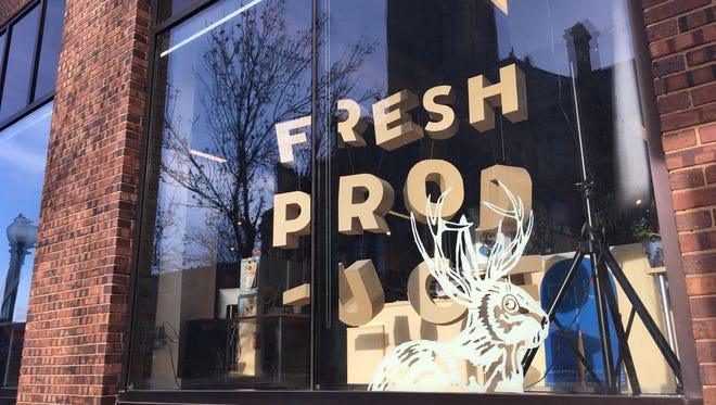The front window of Fresh Produce, at their office at 400 N. Main Ave. in Sioux Falls.