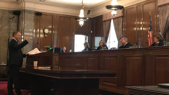 Attorney Jamie Hollin speaking before the Tennessee Supreme Court Monday, April 9, 2018.