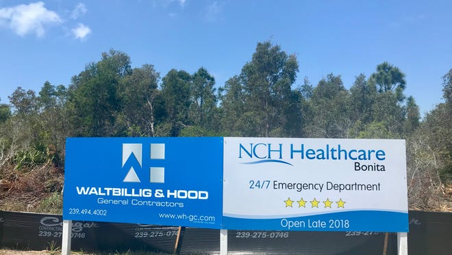 A sign that faces U.S. 41 announces a future NCH Healthcare System 24/7 emergency services facility in Bonita Springs. The site is close to the city's border with the village of Estero, which just rejected a similar proposal.