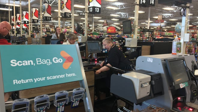 The Kroger at 3165 S. Second St. is the company's first store in the area to adapt its Scan, Bag, Go technology that allows customers to scan their products as they shop.