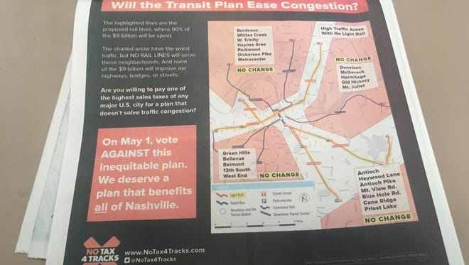 An ad from NoTax4Tracks with incorrect information. The group, which opposes Nashville's transit plan, later admitted the error and issued a revised ad.
