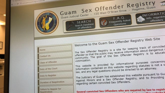 The Guam Sex Offender Registry website includes convicted sex offenders' names, ages, photos, identifying marks and home addresses.