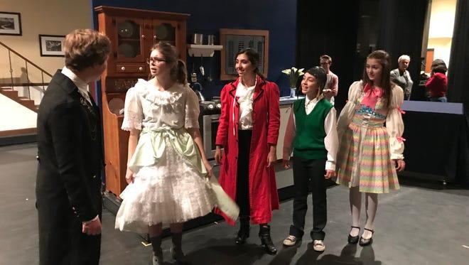 Robertson Ay (Matt Emery), Mrs. Banks (Maddy Eischer), Mary Poppins (LisaMarie Misuraca), Michael Banks (Morgan Campbell) and Jane Banks (Sarah Liskey).