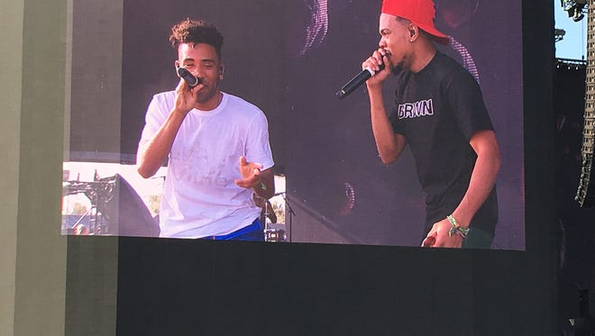 Chance the Rapper performs with SuperDuperKyle on Friday afternoon at the Coachella Valley Music and Arts Festival.