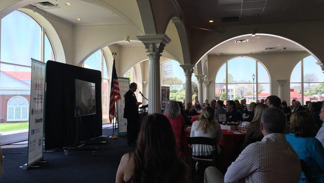 Director of Schools Del Phillips addresses a full crowd Thursday, April 12 at the Hendersonville Chamber of Commerce's State of the County luncheon held at Trinity Music City.