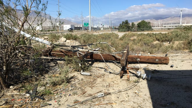 Gusty winds knocked over a utility pole on Garnet Avenue in Palm Springs Thursday. The desert is under a wind advisory due to gusty conditions that will be present Monday.