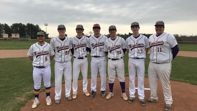 The Lexington Minutemen pitching staff consisting of (left to right) Owen Murray, Josh Aiello, Jake Depperschmidt, Ben Vore, Jared Strickler, Austin Basham and Jack Kleinknecht have the Minutemen ready for another post-season run.