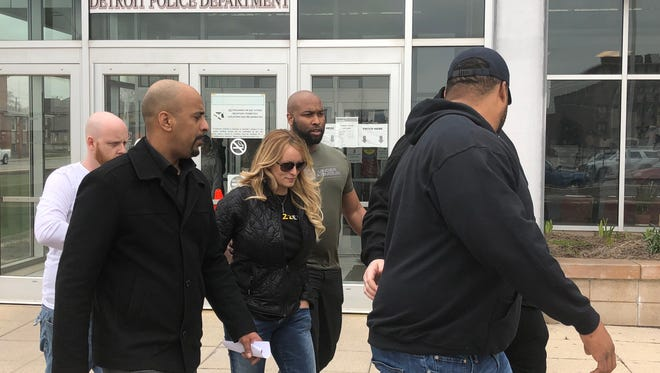 Stormy Daniels (real name Stephanie Clifford) leaving the Detroit Police Department 4th Precinct after obtaining her cabaret license.