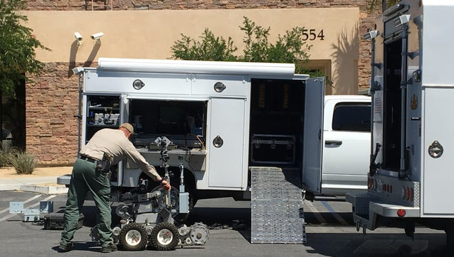Palm Springs police reported a suspicious item was discovered outside the IRS building on Paseo Dorotea. The Riverside County Hazardous Device Unit is investigating.