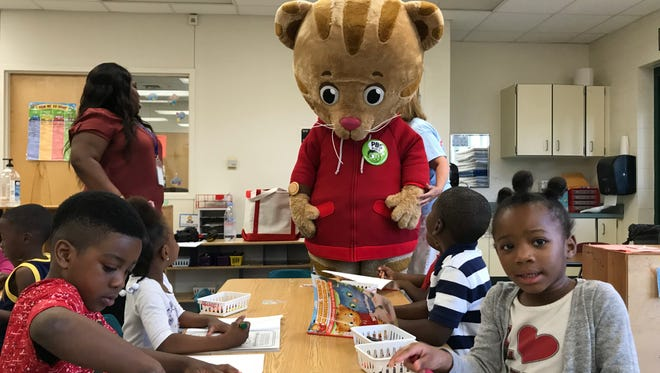 Daniel Tiger  visits with pre-k students  at Montclair Elementary School.