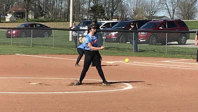 Ridgedale pitcher Olivia VanBuskirk delivers a pitch Friday at home against Colonel Crawford. The Rockets fell 10-0 to the Eagles.