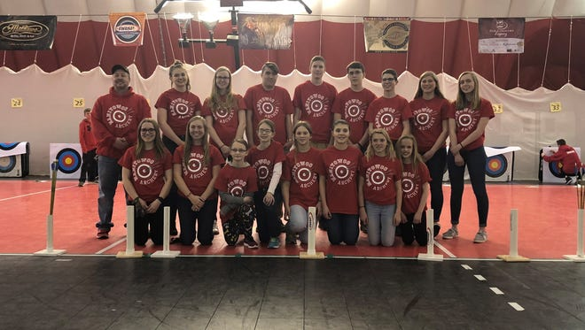 Sixteen Manitowoc Public School District/Manitowoc Parks and Recreation Archery Club members participated in the National Archery in the Schools Program State Tournament in the Wisconsin Dells on March 23. Pictured, kneeling, from left: Halle Braun, Courtney Braun, Ava Bloom, Chloe Peltonen, Milana Meisner, Riley Thomas, Rhyce Thomas and Kira DeWitt; and back row, from left: Coach Koch, Isabella Balma, Mel Spaeth, JT Shields, Jacob Tienor, Dawson Boettcher, Alex Lemberger, Adrianna Sprang and Emily Burns.