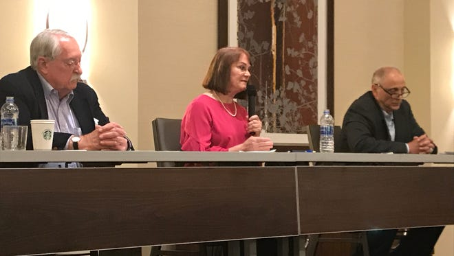 District 1 Supervisor David Kehoe, left, joined challengers Missy McArthur and Joe Chimenti at a candidates forum Tuesday evening at the Sheraton in Redding.
