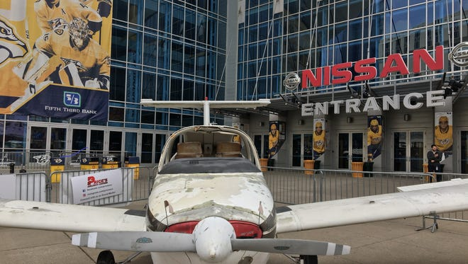 A plane will be used as Nashville's smash car for a second round playoff series against the Winnipeg Jets.