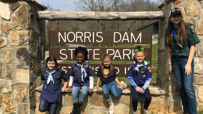 The girls of Den 9, part of Cub Scout Pack 506, on a recent outing at Norris Dam Park: Cassidy Ross, JaShonna Bryant, Makenzie Ross and Ella Riggs. Alyssa Ross is their den chief. The Boy Scouts of America allowed girls to join in January.