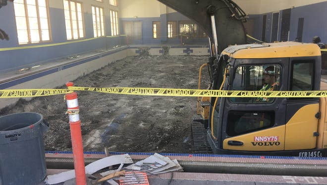 The recent demolition of the swimming pool at the former Dos Vientos YMCA, the planned new home of pastor and Thousand Oaks Councilman Rob McCoy's church. A group of residents has sued the city over allowing the YMCA to be turned into a church.