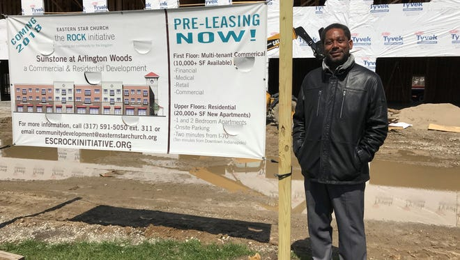 The Rev. Jeffrey Johnson, Sr., senior pastor of Eastern Star Church, stands on the property of a three-story mixed-usefacility that will house 25 apartments on the top floors and nonprofit community partner agencies on the first floor.