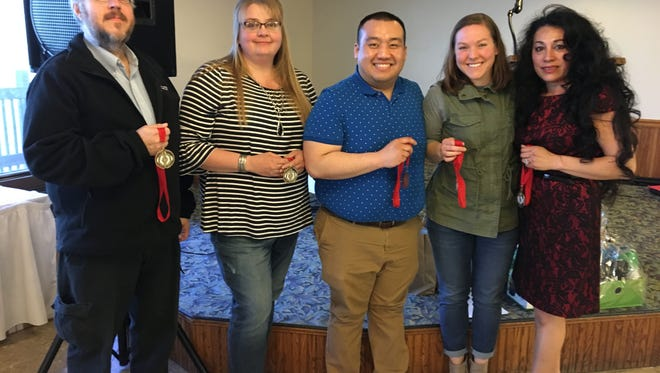 Lean on the Lakeshore participants received special awards during the finale held April 21 at the Lighthouse Inn in Two Rivers. Pictured, from left, are winners Kenneth Walters, Jackie Mueller, See Vixai Thao, Kristen Holzwart and Rosa Kuehnl.