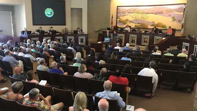 Palm Desert City Council meeting on April 26, 2018. Council approved a project that combines luxury and low-income housing.