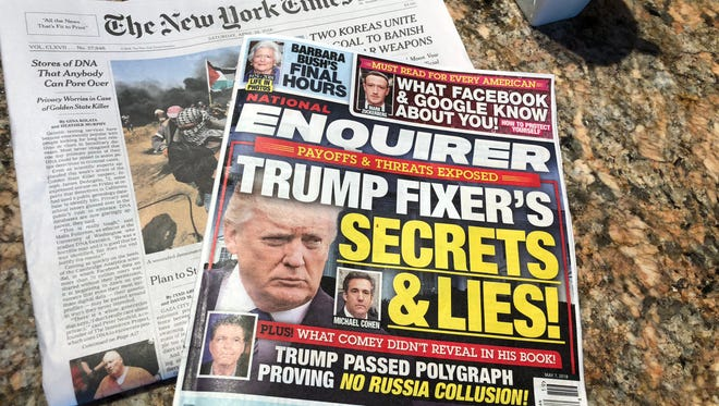 An edition of the 'National Enquirer' and 'The New York Times.'