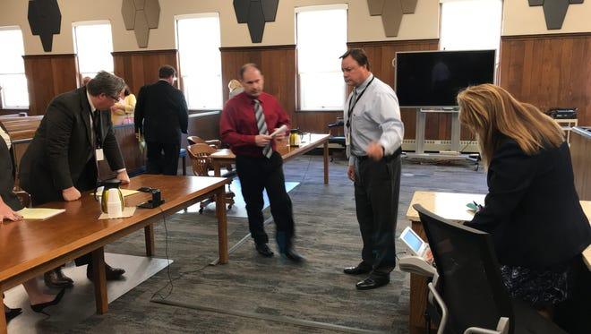 Heather Bogle homicide suspect Daniel Myers is led out of Sandusky County Common Pleas Court in April 2017.