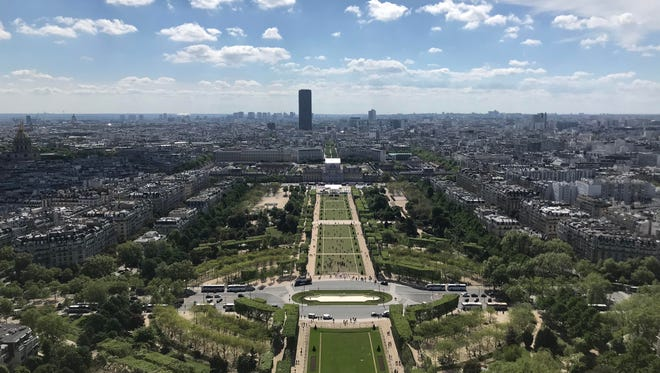 A view from the Eiffel Tower on Wednesday, May 2, 2018, in Paris.